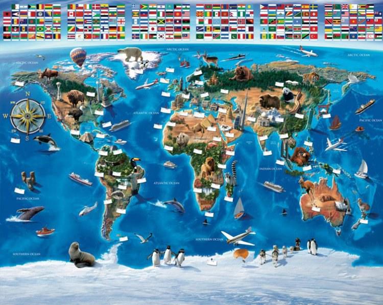 3D Fototapeta Walltastic Mapa Světa 41851 | 305x244 cm - Fototapety