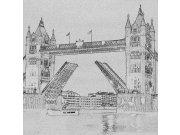 Fototapeta Tower Bridge černobílá kresba L-307 | 220x220 cm Fototapety