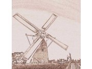 Fototapeta Větrný mlýn sépiová malba L-314 L-314 | 220x220 cm Fototapety