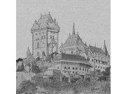 Fototapeta Karlštejn černobílá kresba L-322 | 220x220 cm Fototapety