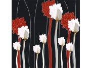 Fototapeta Červenobílé květy na černém pozadí L-330 | 220x220 cm Fototapety