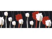 Fototapeta Červenobílé květiny na černém pozadí M-312 | 330x110 cm Fototapety