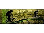 Fototapeta Zelený cyklista M-388 | 330x110 cm Fototapety