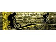 Fototapeta Žlutý cyklista M-389 | 330x110 cm Fototapety