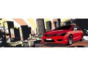 Fototapeta Červené auto ve městě M-391 | 330x110 cm Fototapety