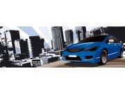 Fototapeta Modré auto ve městě M-392 | 330x110 cm Fototapety