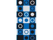 Fototapeta Modročerné čtverce s kruhy S-406 | 110x220 cm Fototapety