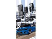 Fototapeta Modré auto S-433 | 110x220 cm Fototapety