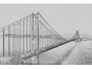 Fototapeta Golden Gate černobílá kresba XL-301 | 330x220 cm Fototapety