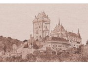 Fototapeta Karlštejn sépiová kresba XL-322 | 330x220 cm Fototapety