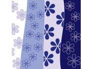 Fototapeta Modré pruhy s květinami L-253 | 220x220 cm Fototapety
