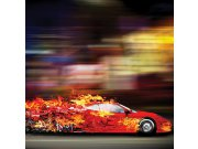 Fototapeta Červené auto v plamenech L-259   220x220 cm Fototapety
