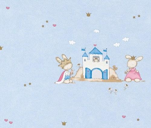 Dětská modrá tapeta motiv Králíci 122763 - Výprodej