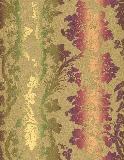 Tapeta Etro ornamenty khaki fialová 517828 | lepidlo zdarma - Rasch