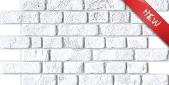 3D obkladový PVC panel bílá cihlová zeď - 3D obkladové panely
