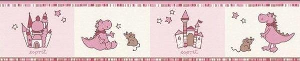 Dětská bordura tapeta dráček růžová 1091-25 - Výprodej