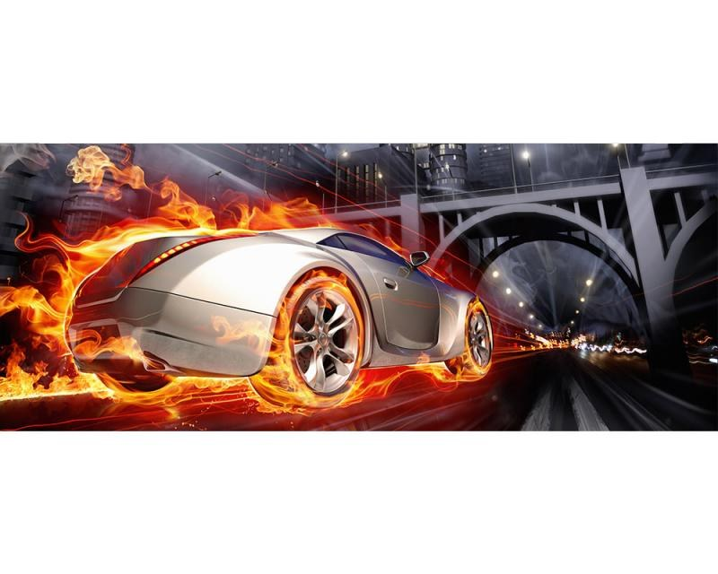 Panoramatická Fototapeta na zeď Auto v plamenech | MP-2-0314 | 375x150 cm - Fototapety