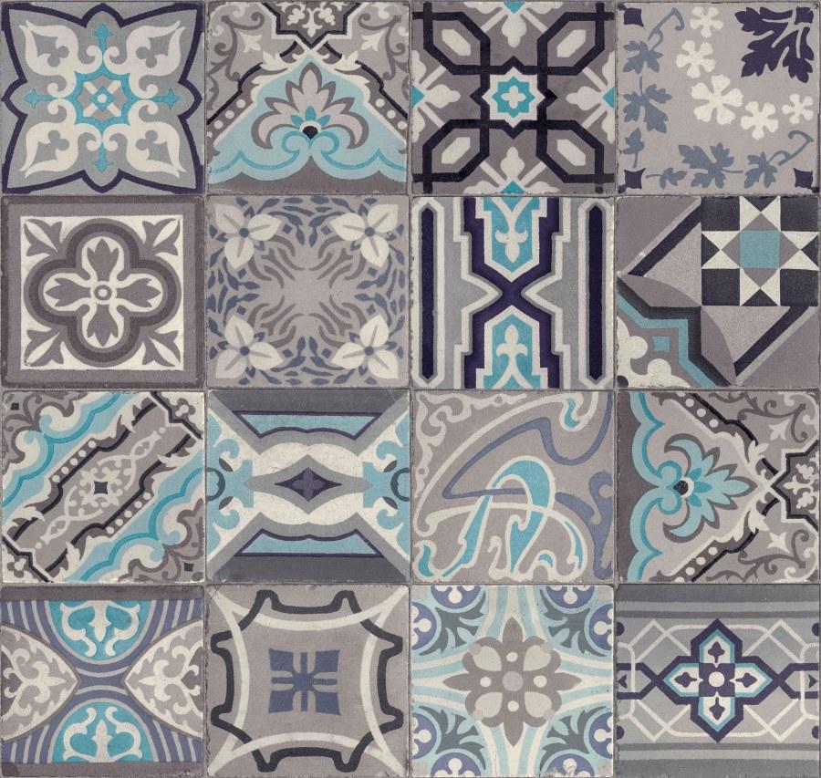 Tapeta Ceramics retro kachličky šedé 270-0169 | šíře 67,5 cm - Tapety skladem