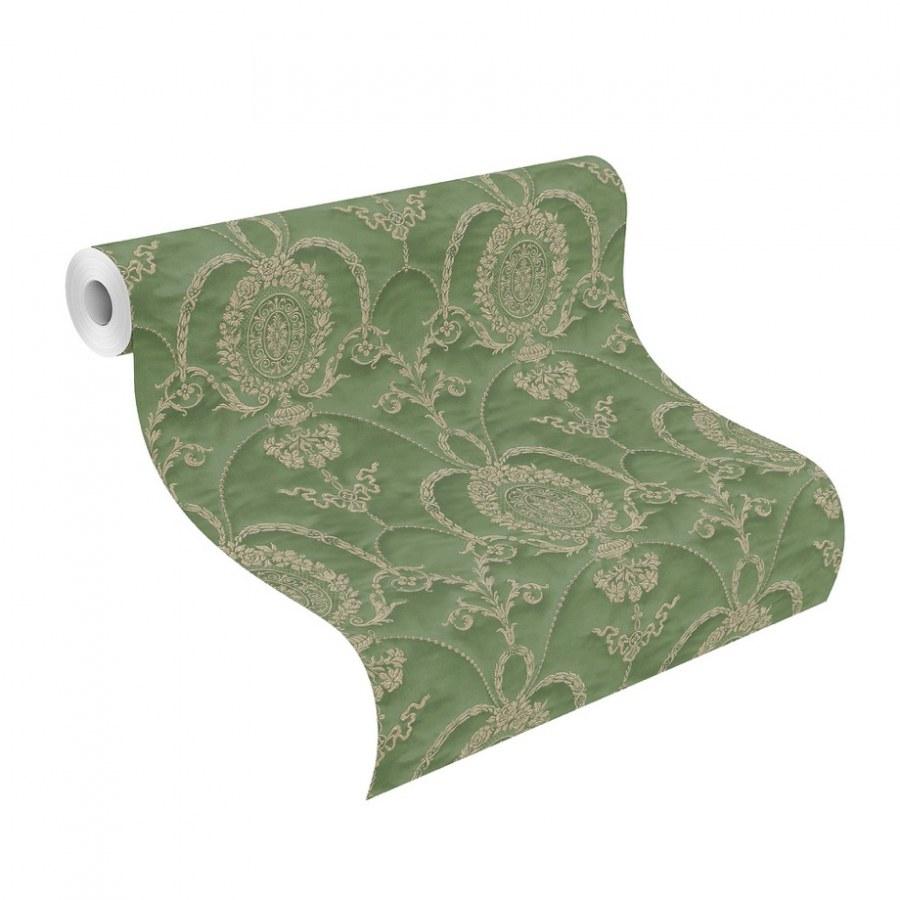 Barokní tapeta Zelené ornamenty Trianon 532142 | lepidlo zdarma - Rasch