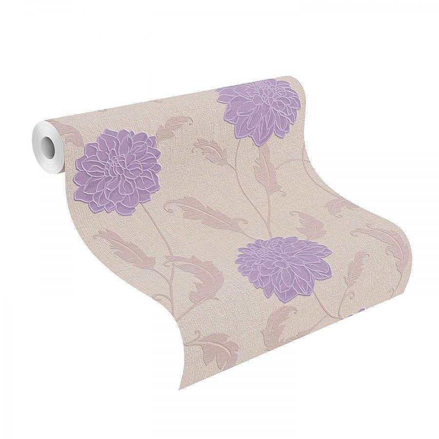 Béžová tapeta s Fialovými květy 886801 - Výprodej