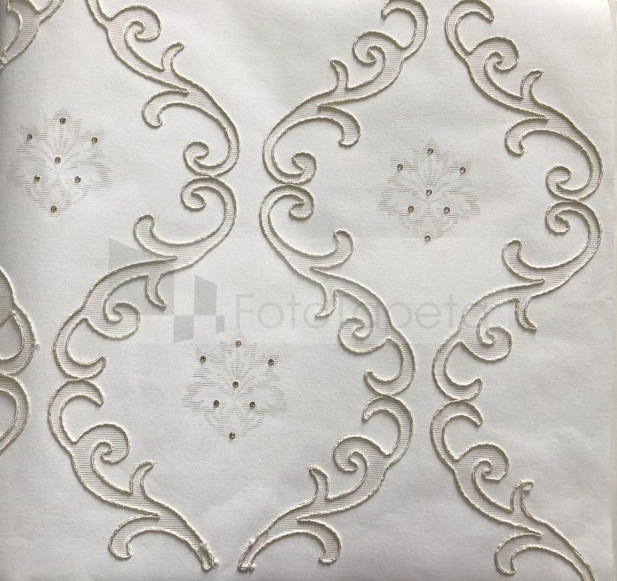 Tapeta Clara bílá vyšívaný ornament s krystaly 6600 - Rasch