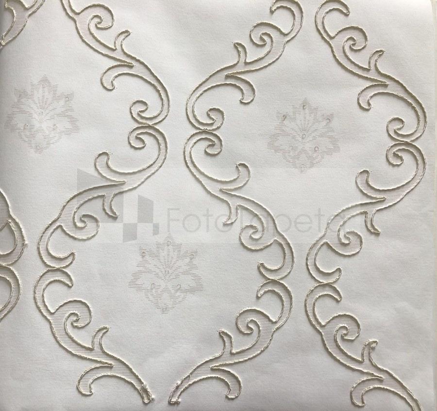 Tapeta Clara bílá vyšívaný ornament 6601 - Rasch