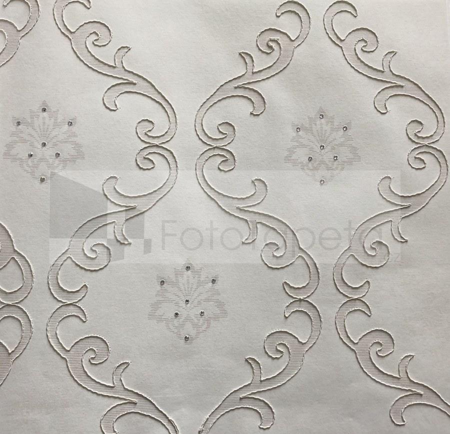 Tapeta Clara krémová vyšívaný ornament s krystaly 6602 - Rasch