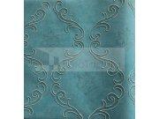 Tapeta Clara tyrkysová vyšívaný ornament 6607 Rasch