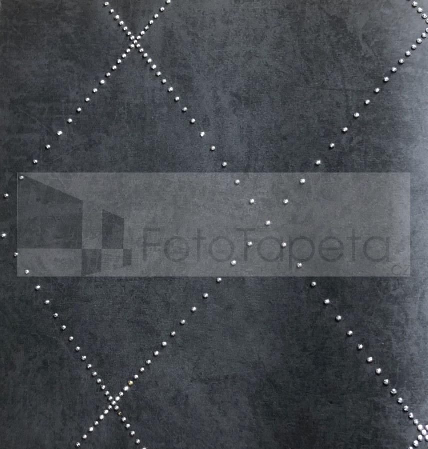 Tapeta Nexus černá se stříbrnými krystaly 6615 - Rasch