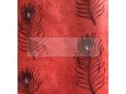 Tapeta Peacock červená černé paví oka 6631 Rasch