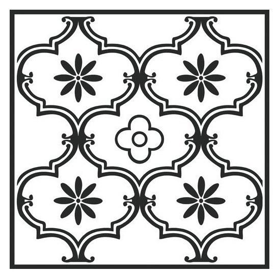 Samolepicí pvc dlažba černobílý ornament 2745052   30,4×30,4 cm - Samolepící dlažba