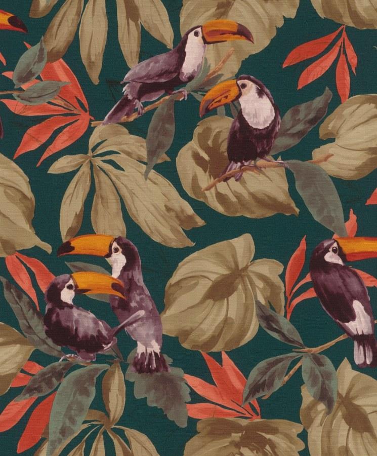 Přírodní omyvatelná tapeta ptáci na listech Denzo II 807509   Lepidlo zdarma - Rasch