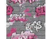 Šedá tapeta graffity Aldora III 237818 | Lepidlo zdarma Rasch