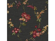Černá tapeta s květinovým vzorem FT221214 | Lepidlo zdarma Vavex