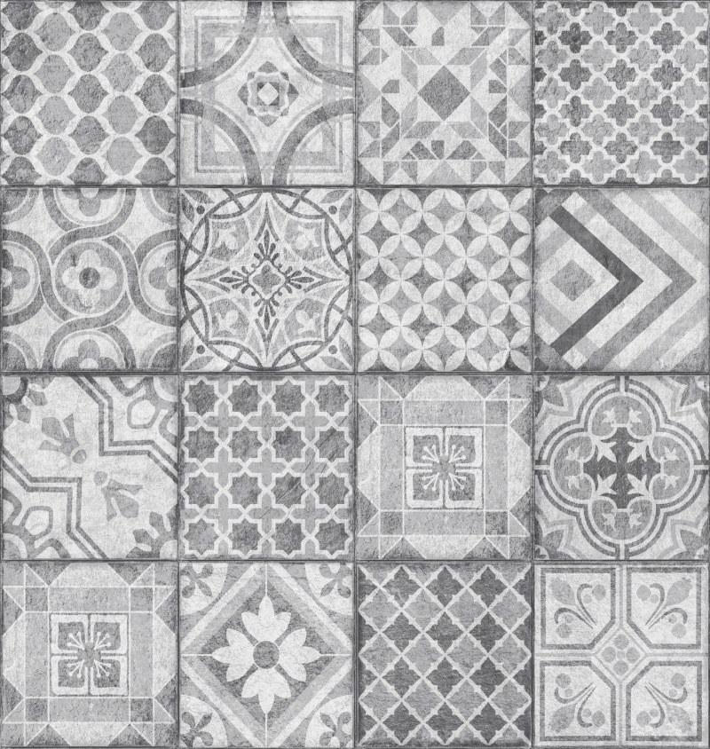 Tapeta Ceramics šedý patchwork 270-0177   šíře 67,5 cm - Tapety skladem