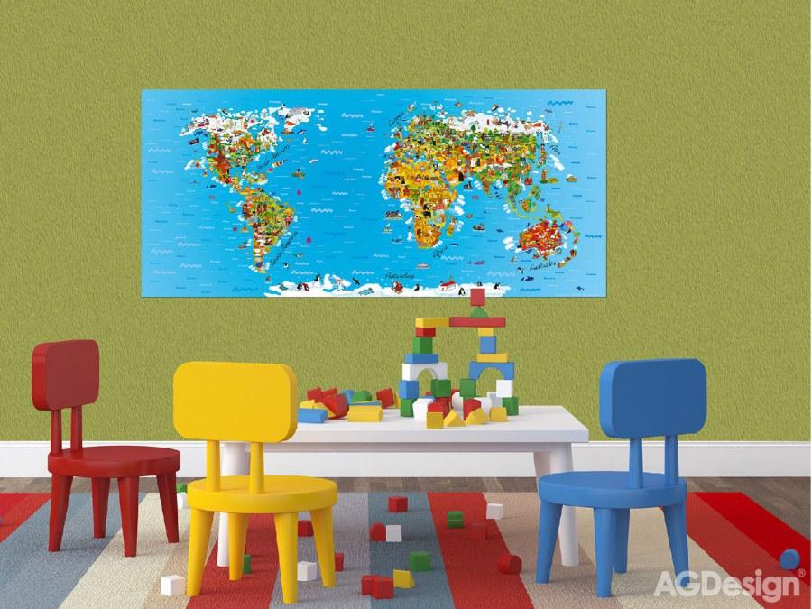 Fototapeta AG Mapa světa FTNH-2731 | 202x90 cm - Fototapety