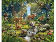 3D Fototapeta Walltastic Zvířátka z lesa 43060 | 305x244 cm Fototapety skladem